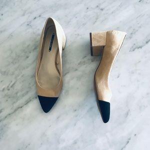 Zara Collection tan & black suede heels size 8
